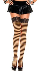Opaque Striped Lace Top Thigh Highs - Black/Orange