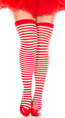 Plus Size Striped Thigh Highs - Red/White