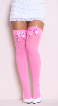 Opaque Thigh Highs with Satin Bow - as shown