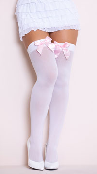 Opaque Thigh Highs with Satin Bow - White/Baby Pink