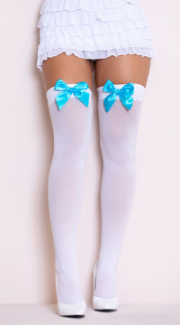 Opaque Thigh Highs with Satin Bow - White/Turquoise
