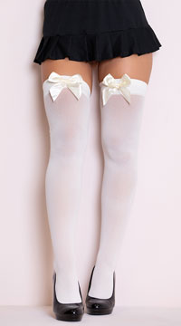 Opaque Thigh Highs with Satin Bow - Ivory