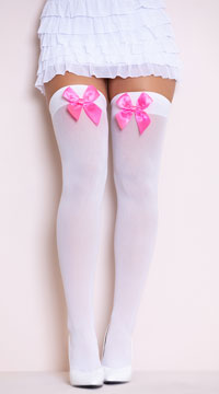 Opaque Thigh Highs with Satin Bow - White/Hot Pink