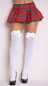 Opaque Thigh Highs with Satin Bow - White/White