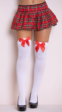 Opaque Thigh Highs with Satin Bow - White/Red