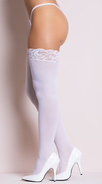 Opaque Thigh Highs with Lace Top - White