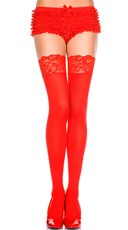 Plus Size Opaque Thigh Highs with Lace Top - Red