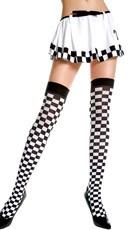 Opaque Checkered Thigh Highs - Black/White