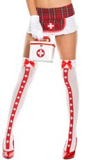 Nurse Costume Medic Thigh Highs - White/Red