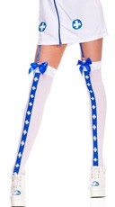 Nurse Costume Medic Thigh Highs - White/Blue