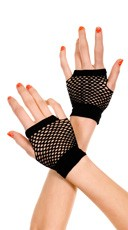 Fingerless Net Gloves - Black