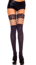 Opaque Thigh Highs with Fence Net Insert - Black