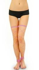 Footless Big Diamond Net Thigh Highs - Pink