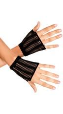 Slashed Fingerless Gloves - Black