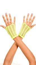 Slashed Fingerless Gloves - Neon Green