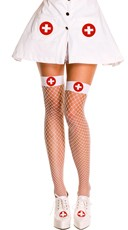 Nurse Fishnet Stockings - White/Red