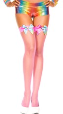 Neon Fishnet Stockings With Rainbow Satin Bows - Neon Pink