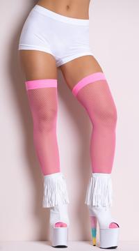 Neon Fishnet Thigh Highs - Neon Pink