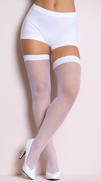 Neon Fishnet Thigh Highs - White