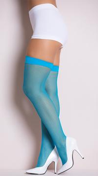 Neon Fishnet Thigh Highs - Neon Blue