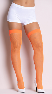 Neon Fishnet Thigh Highs - Neon Orange
