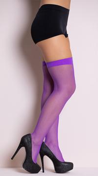 Neon Fishnet Thigh Highs - Purple