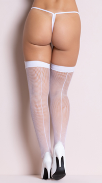 Backseam Fishnet Thigh Highs - White