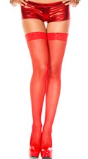 Fishnet Thigh Highs with Thin Lace Top - Red