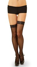 Fishnet Thigh Highs with Backseam and Lace Top - Black