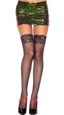 Fishnet Thigh High with Lace Top - Black