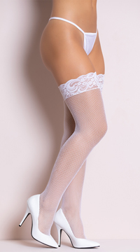 Lace Top Fishnet Thigh Highs with Backseam - White