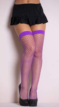 Diamond Net Thigh Highs - Purple
