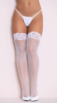 Fishnet Thigh Highs with Silicon Lace Top - White