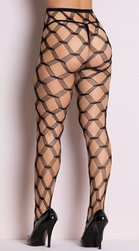 Multi Strands Diamond Net Pantyhose - Black