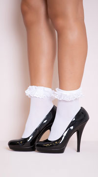 Opaque Anklet with Ruffled Lace - White