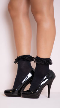 Opaque Anklet with Ruffled Lace - Black