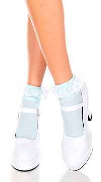 Opaque Anklet with Ruffled Lace - Baby Blue