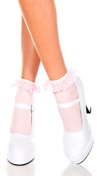 Opaque Anklet with Ruffled Lace - Baby Pink