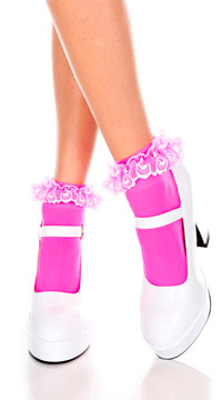 Opaque Anklet with Ruffled Lace - Hot Pink