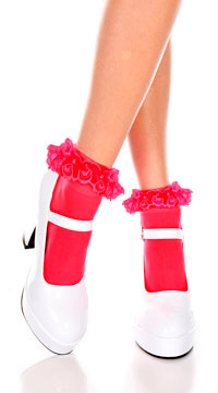 Opaque Anklet with Ruffled Lace - Red