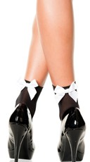 Opaque Anklet with Bow - Black/White
