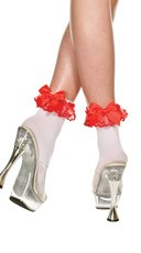 Opaque Anklet with Lace and Bow - White/Red/Red