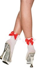 Opaque Anklet with Lace and Bow - White/White/Red