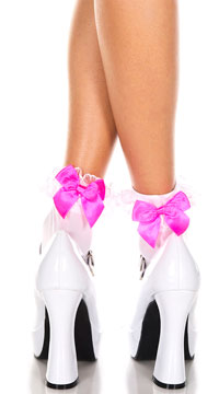 Opaque Anklet with Lace and Bow - White/Hot Pink