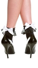 Opaque Anklet with Lace and Bow - Black/White