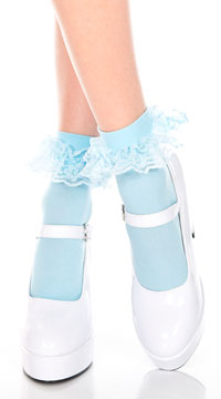 Ruffle Trim Ankle High Socks  - Baby Blue