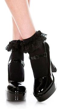 Ruffle Trim Ankle High Socks  - Black