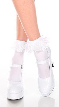 Ruffle Trim Ankle High Socks  - White