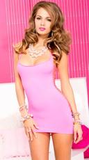 Strappy Back Halter Mini Dress - Neon Pink