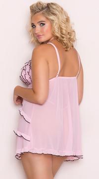 Plus Size Pink Ruffled Mesh Babydoll - Pink/Black